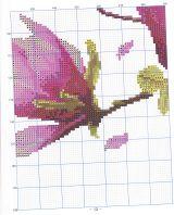 Вышивка крестом магнолии триптих схема