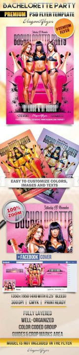 Bachelorette party Flyer PSD Template + Facebook Cover