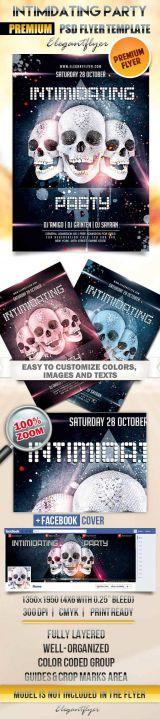 Intimidating Party Flyer PSD Template + Facebook Cover