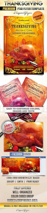Thanksgiving Flyer PSD Template + Facebook Cover
